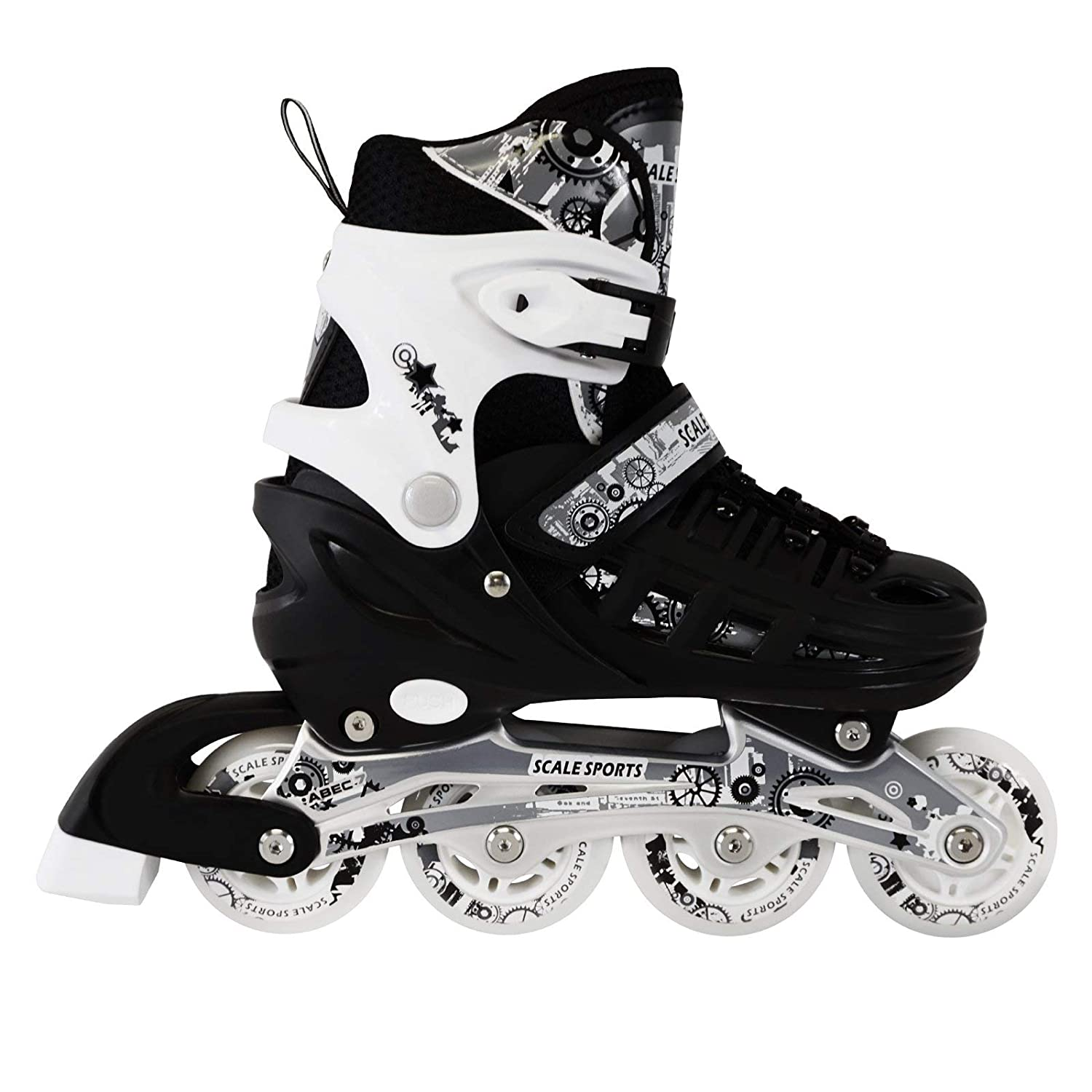 Renewed Scale Sports Kids Adjustable Inline Roller Blade Skates Small Medium Large Sizes Safe Durable Outdoor Featuring Illuminating Front Wheels 905