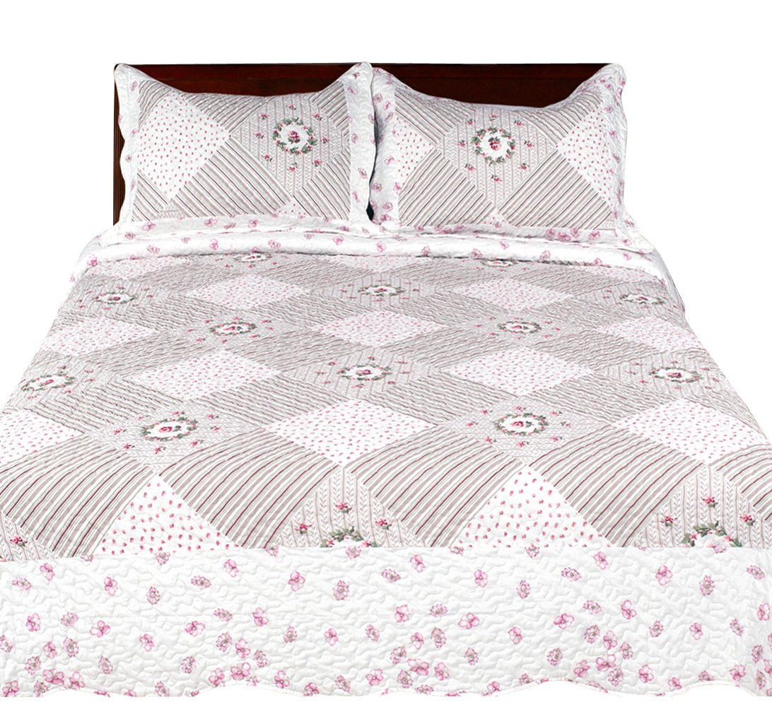 100/% Cotton Fill Floral Pink Couture Home Collection Elegant Emroidered Reversible Quilt Set with Shams Queen Peach Couture