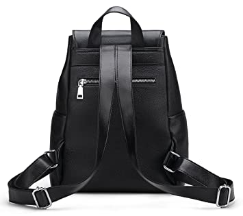 Amazon.com: New Women Real Genuine Leather Backpack Purse vintage SchoolBag by Coolcy (Black): COOLCY