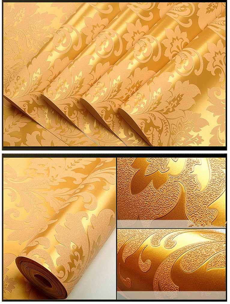 Blooming Wall Elegant European Style Luxury 3D Damask Pearl Powder Wallpaper Roll, 57 Sq.ft/Roll
