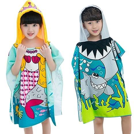 LVEDU - Toalla de playa con capucha para niños y niñas, con capucha A