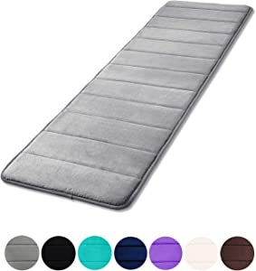 "Buganda Memory Foam Soft Bath Mats - Non Slip Absorbent Bathroom Rugs Rubber Back Runner Mat for Kitchen Bathroom Floors 16""x47"", Grey"