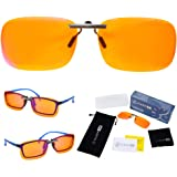 Clip On 99.9% Anti Blue Light Blocking Computer Video Gaming Glasses for Women & Men - Clips On Your Prescription or Reading