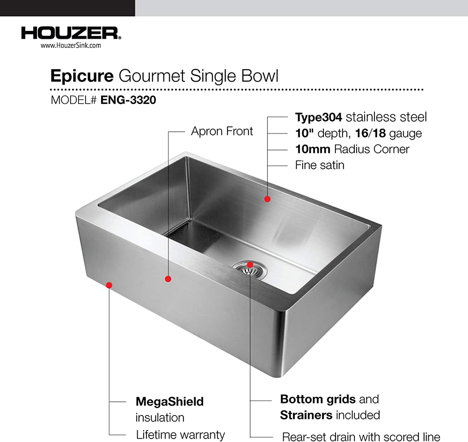 Houzer ENG-3320 Epicure Series Apron Front Gourmet Single Bowl Kitchen Sink Stainless Steel