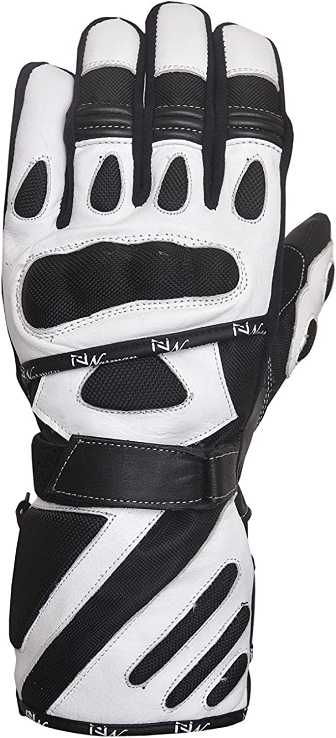 WATERPROOF MOTORCYCLE MOTORBIKE TOURING BIKE GLOVES LEATHER//CORDURA WHITE