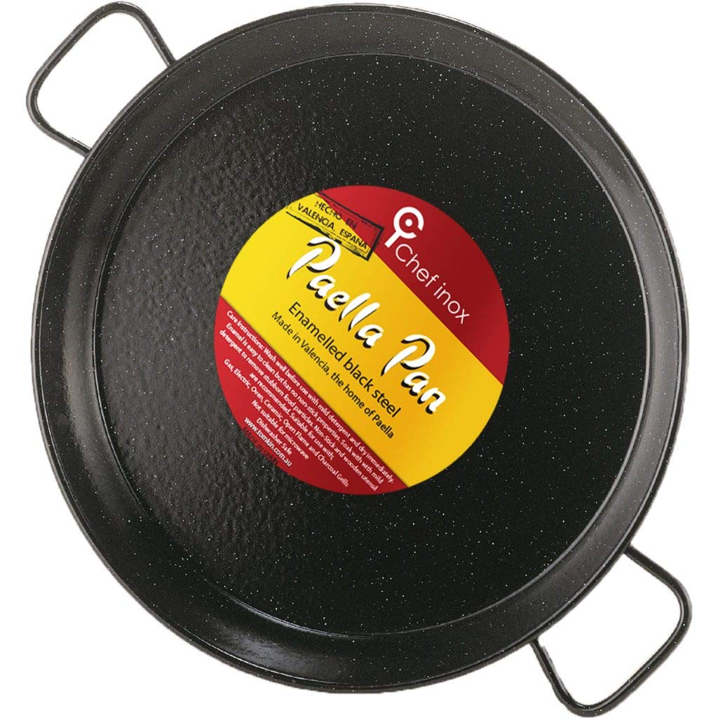 Garcima 16-Inch Enameled Steel Paella Pan, 40cm, Medium, Black