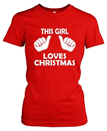 Amazon.com: Youth This Girl Loves Christmas Shirt Kids Xmas Party ...