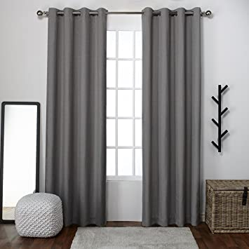 Exclusive Home Curtains Loha Linen Grommet Top Window Curtain Panel Pair,  Black Pearl, 52x96