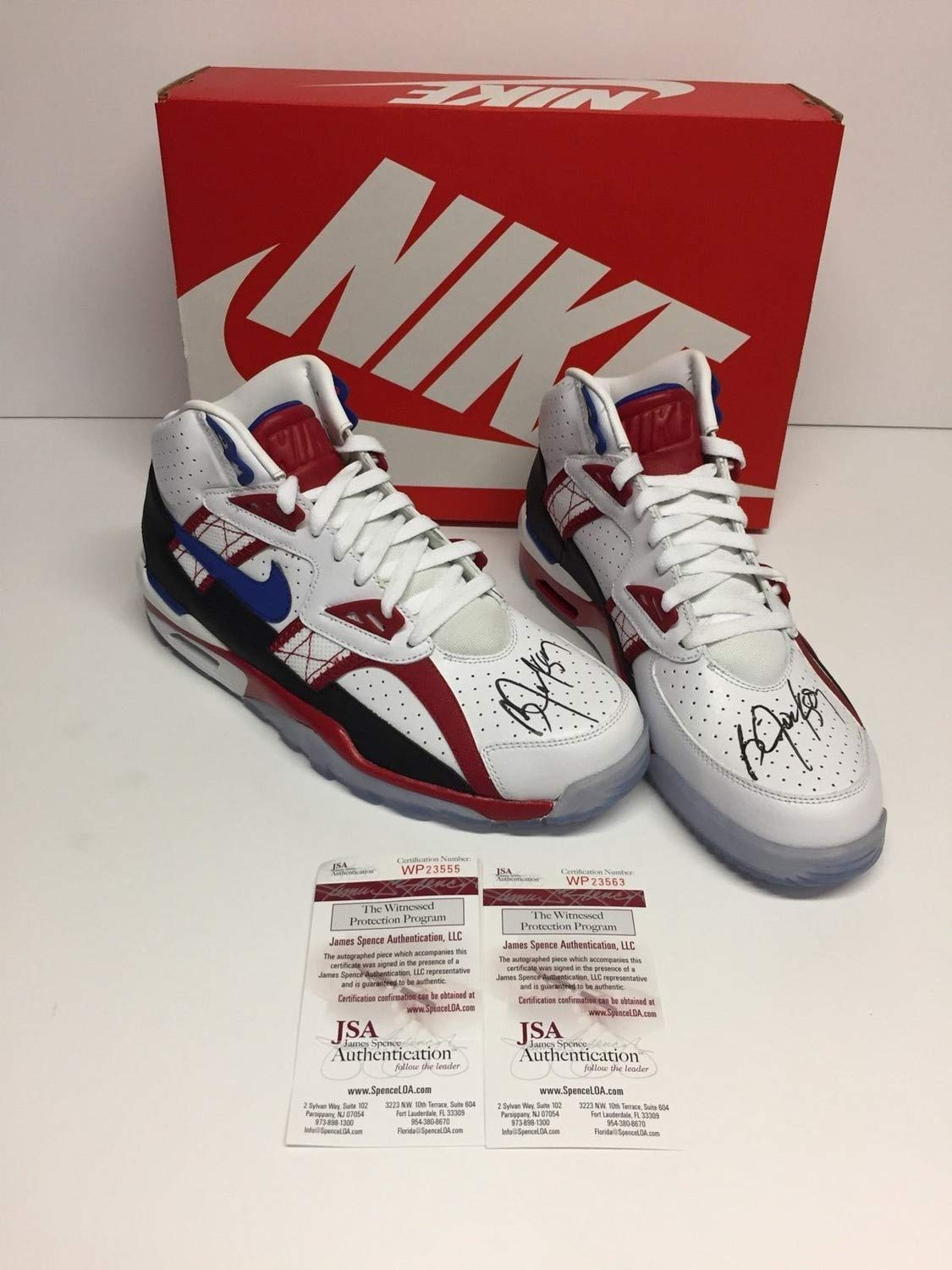 Bo Jackson Dual Autographed Signed Nike Air Trainer Sc High Le Qs Bo Knows Hockey Shoes JSA Authentic