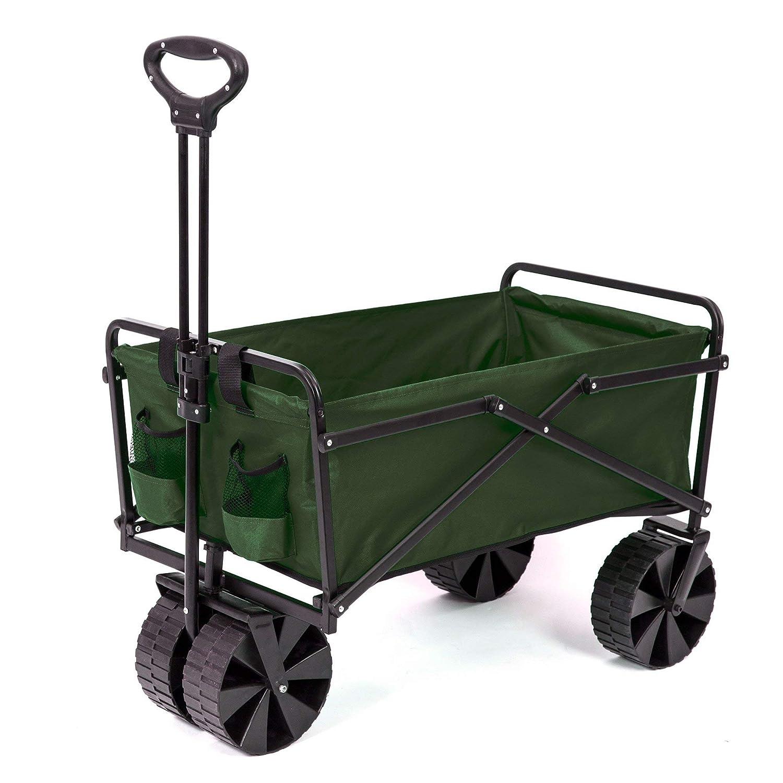 Seina Collapsible Steel Frame Folding Utility Beach Wagon Outdoor Cart, Green