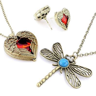 Classic Vintage Bronze Dragonfly Pendant Necklace Chain (3 Pcs  Dragonfly 47088cc0e