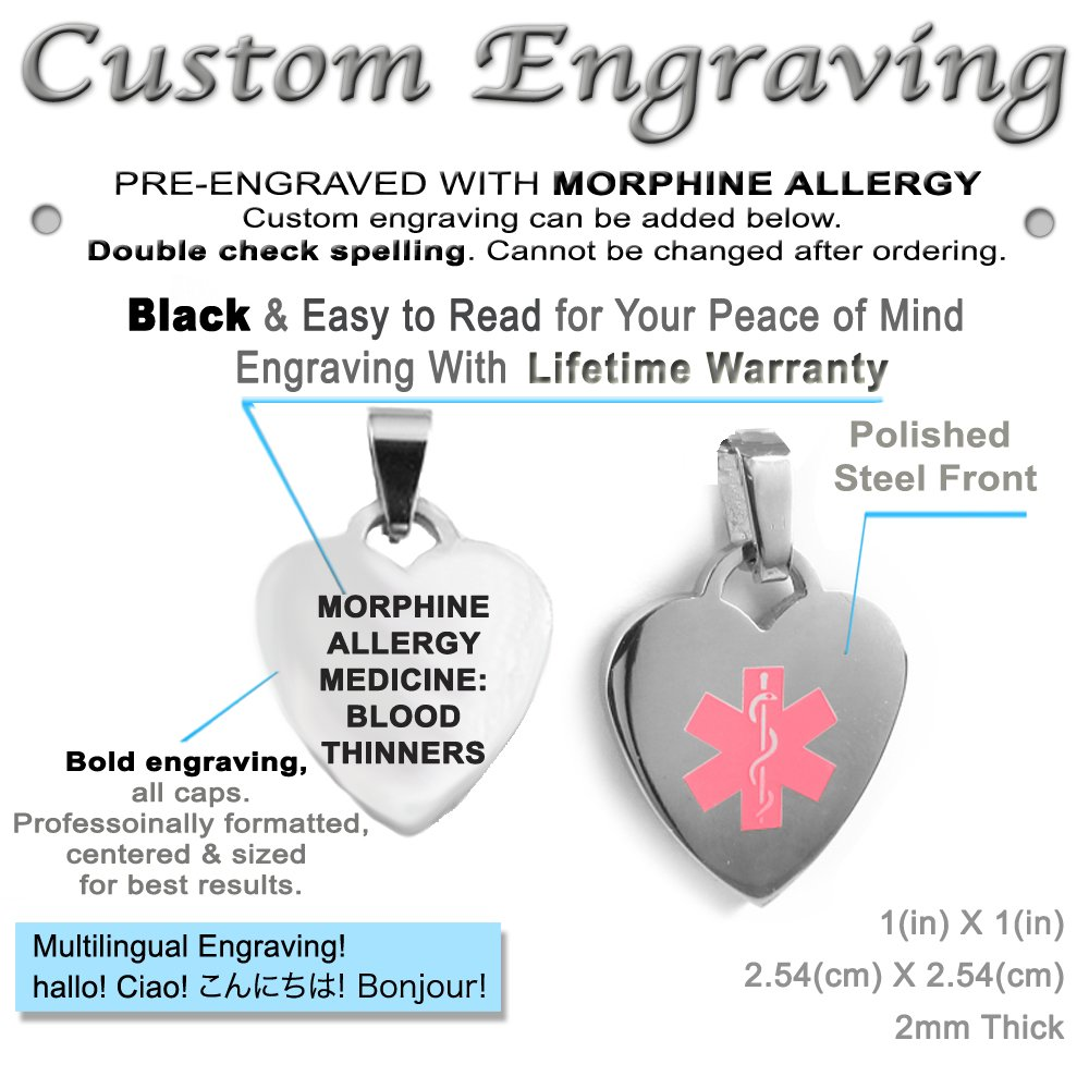 Made in USA My Identity Doctor Steel Pink Pre-Engraved /& Customized Morphine Disease Medical ID Heart Pendant Necklace