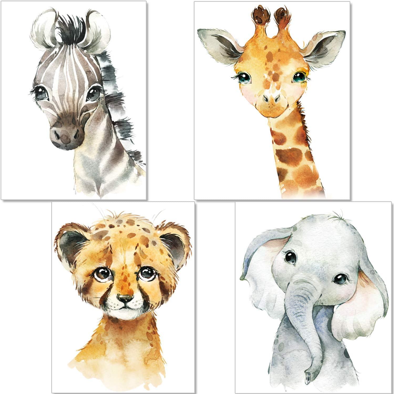 artpin® - Juego de 4 pósteres para habitación de niños – A4 imágenes para habitación de bebé – Decoración para niñas y niños P35
