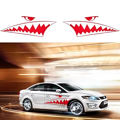 99dfd5feeb Amazon.com  ATMOMO RED 2Pcs Car Body DIY Shark Teeth Decal Shark Mouth  Teeth Stickers Waterproof Vinyl Car Decoration Sticker Decals  Automotive