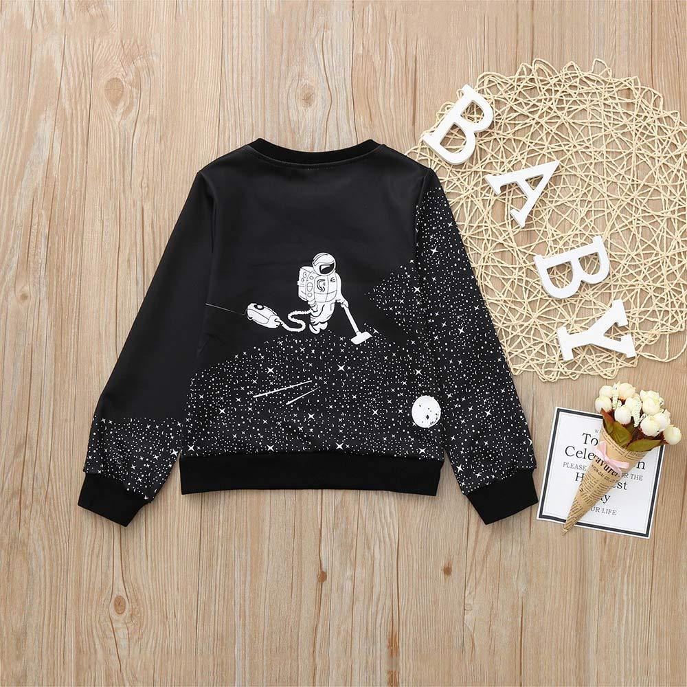 Zerototens Girls,Sweatshirt Toddler Kids Clothes Boys Girls Black Long Sleeve Cartoon Space Astronaut Print Pullover Tops Kids Fleece Jacket 1-6 Years Old