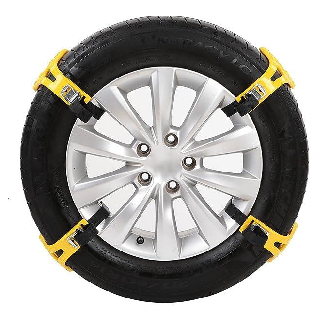 Per 4pcs Cadenas Antideslizante de Nieve y Arena para Neumáticos de Coche y Moto Cadenas Universal de Emergencia (Amarillo): Amazon.es: Coche y moto
