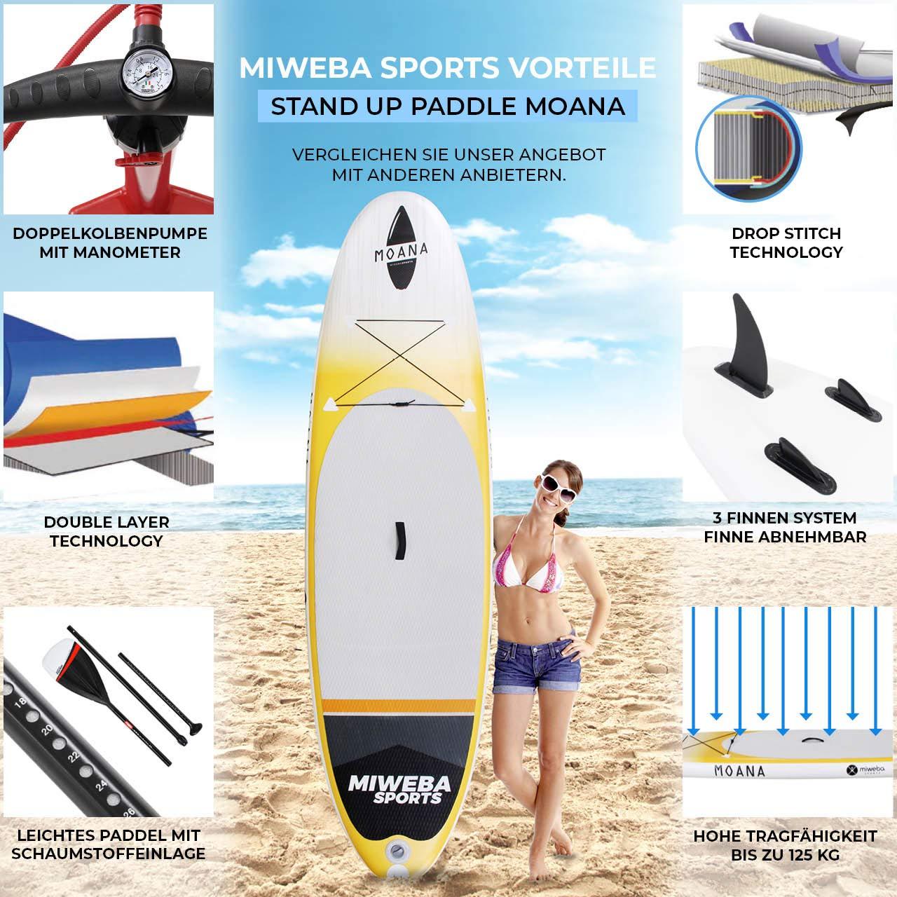 Tabla de surf a remo Miweba Moana, para padel surf, inflable, de 305 y 325 cm, 15 cm de grosor, con remo y accesorios, color anaranjado claro: Amazon.es: ...