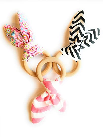 Strong-Willed New Baby Natural Wooden Teether Crochet Bunny Ears Teething Ring Chewing Toy???? Feeding Teethers