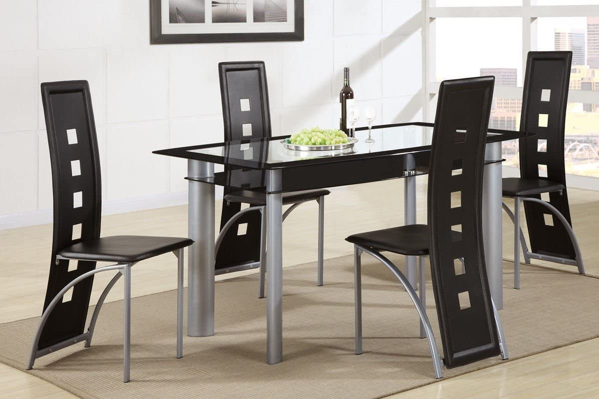 Poundex Black Painted Glass Leatherette Chairs 5 Piece Dining Set, Multi