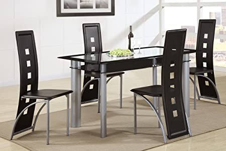 Poundex F2212 F1274 Black Painted Glass Leatherette Chairs 5 Piece Dining Set, Multi