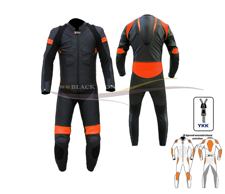 ZENS Cuir CE pour homme /école de cuir dune seule pi/èce Combinaison de moto pour costume Noir Orange sont livr/és avec Speed Hump nimporte quelle Taille