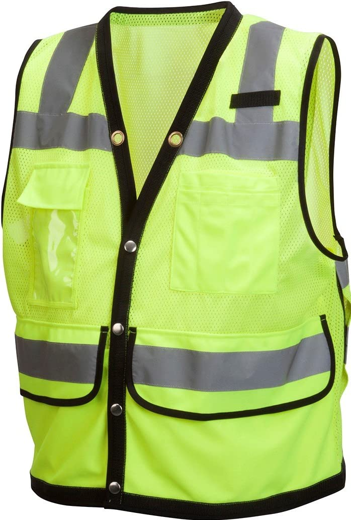 Pyramex RVMS2810X3 Hi-Vis Lime SAFETY Vest with Black Trim, 3X Large, 3X-Large, Green