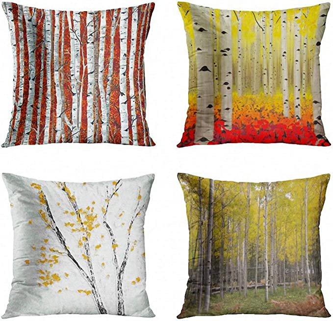 Artsocket Set Of 4 Throw Pillow Covers Accent Autumn Birch Trees Fall Season Nature Plant Yellow Tree Aspen Grove Decorative Pillow Cases Home Decor Square 18x18 Inches Pillowcases Home Kitchen