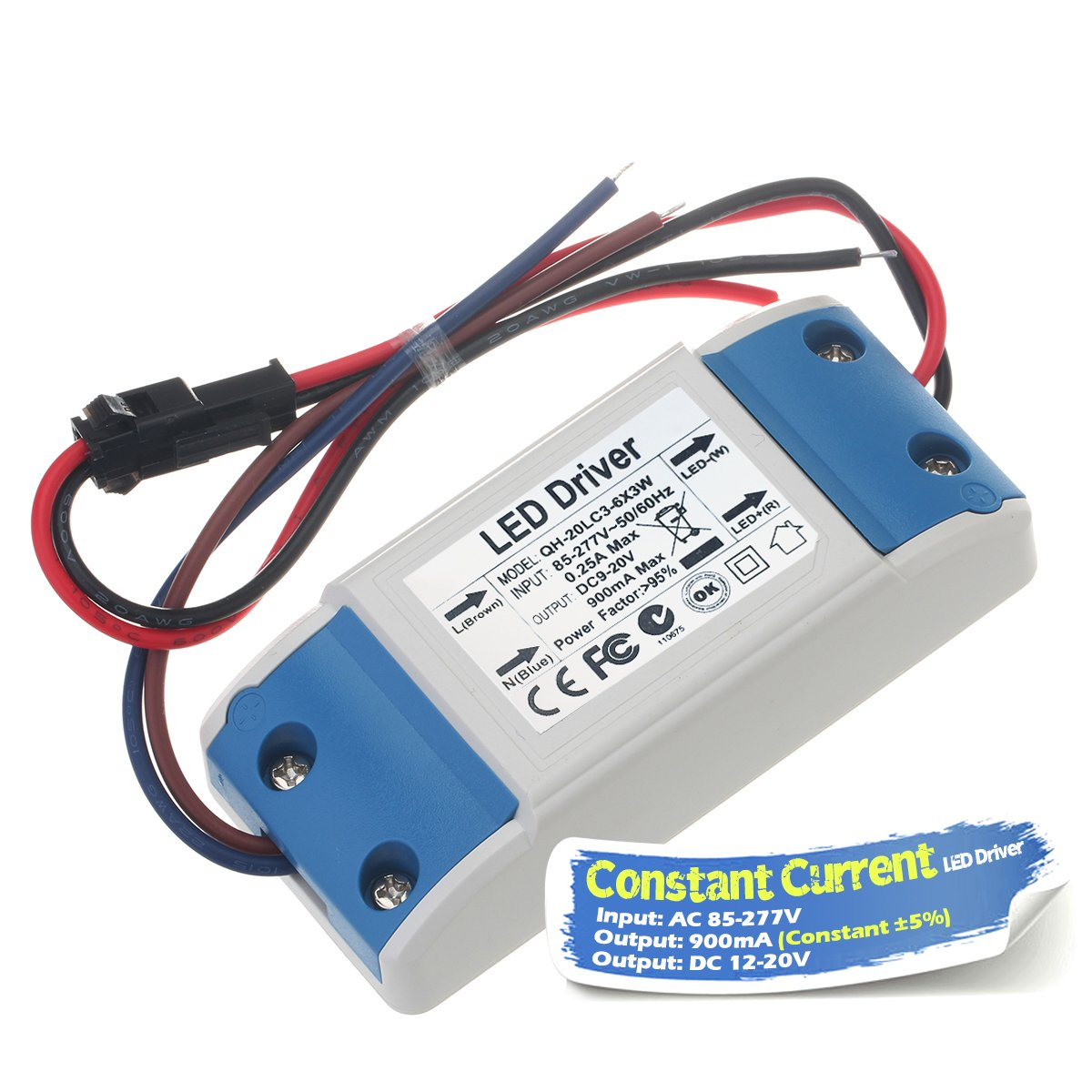 Chanzon Led Driver 900ma Constant Current Output 12v 20v Input 85 Voltage Controlled Source Op 277v Ac Dc 4 6 X3 12w 15w 18w 20w Power Supply 900 Ma Lighting Transformer Drivers