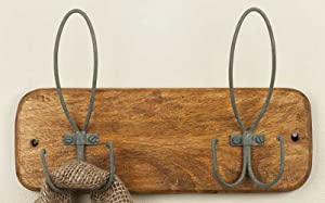 CTW 840059T Vintage Inspired Wall Mounted 2 Hook Rack Hanger for Entryway Mudroom Bathroom Bedroom Kitchen Coats Towels Garden Gloves Hats Caps Bags Purses Clothes Garments Wood Metal Brown and Gray