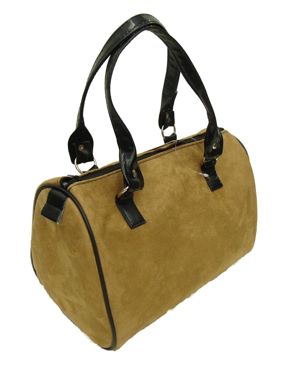 US Handmade Fashion SUEDE CAMEL COLOR Pattern Doctor Bag Satchel Style Handbag Purse, DRB 8002
