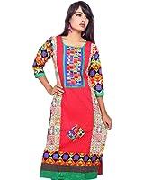 Nextar Women's Cotton Long Printed Kurti