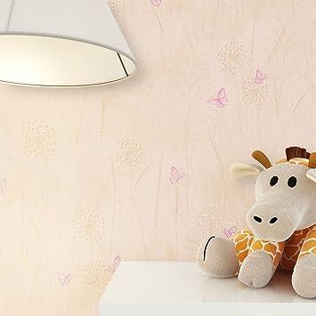 Kindertapete Beige Creme Schmetterlinge Blumen Gras Tiere , Süße Tapete Für  Babyzimmer Oder Kinderzimmer , Inklusive