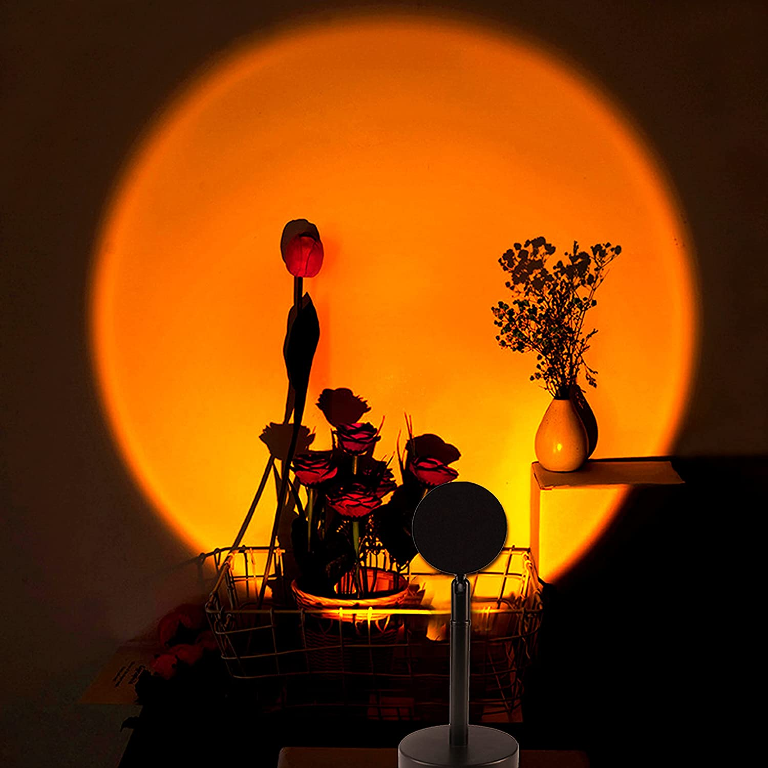 Sunset Lamp,Sunset Projection Lamp,Romantic Visual Sunset Light ,180 Degree Rotation Projection Led Sunset Lamp Projector USB Charging for Room Bedroom Studio Decor