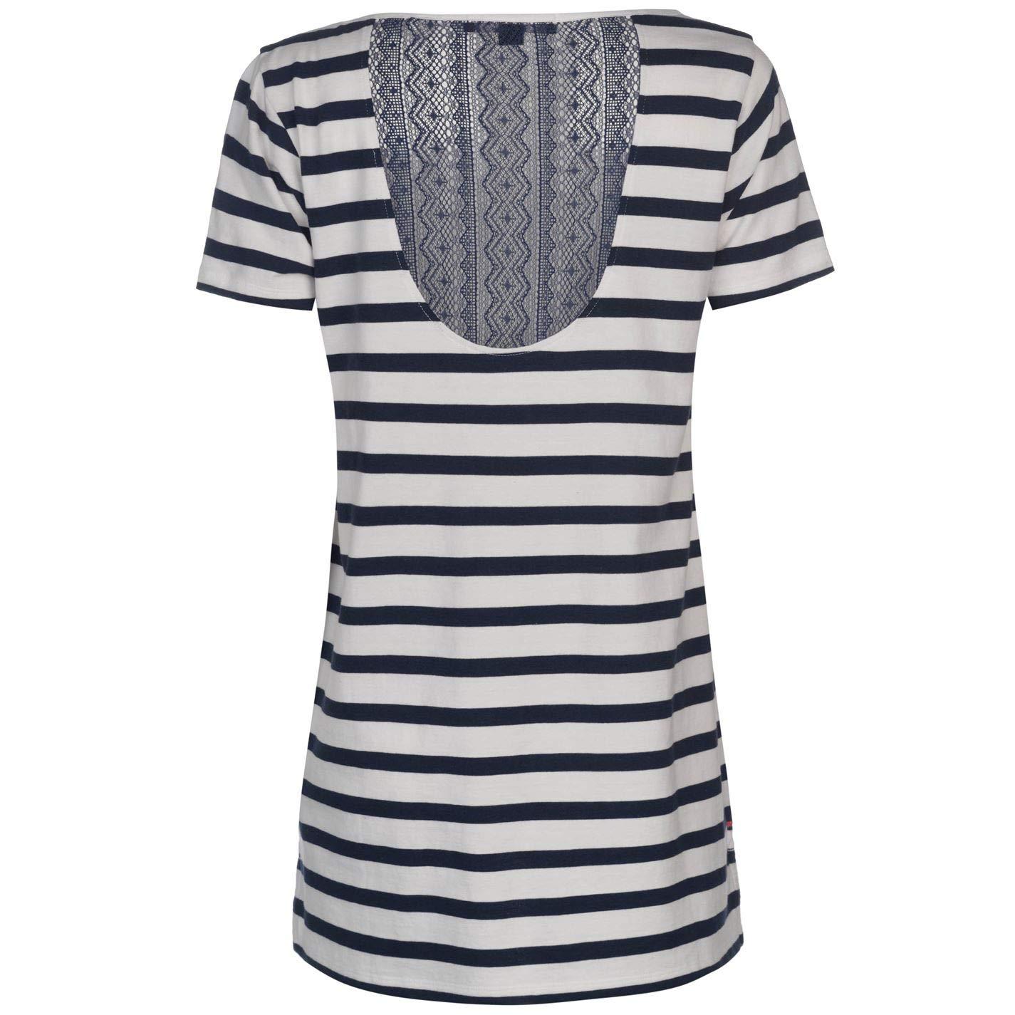 a572c16e Kangol Womens Lace Back T Shirt Navy Stripe 16 (XL): Amazon.co.uk: Clothing