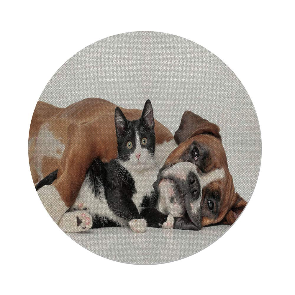 iPrint Cotton Linen Round Tablecloth,Funny,Cat and Dog Cuddling Lying on Floor Friendship Theme Cute Animals Togetherness,Brown Black White,Dining Room Kitchen Table Cloth Cover