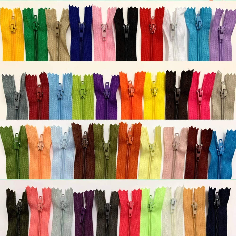 WKXFJJWZC 50pcs 24 Inch (60cm) Nylon Coil Zippers Bulk for Sewing Crafts 40 Color (24 inch) by WKXFJJWZC