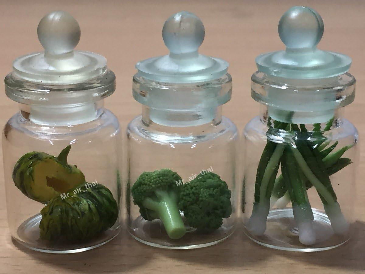 3pc Miniature Fruit Vegetable Food Mushroom Dollhouse Cake in Clear Glass Mini Bottle Fruit Food #MF037