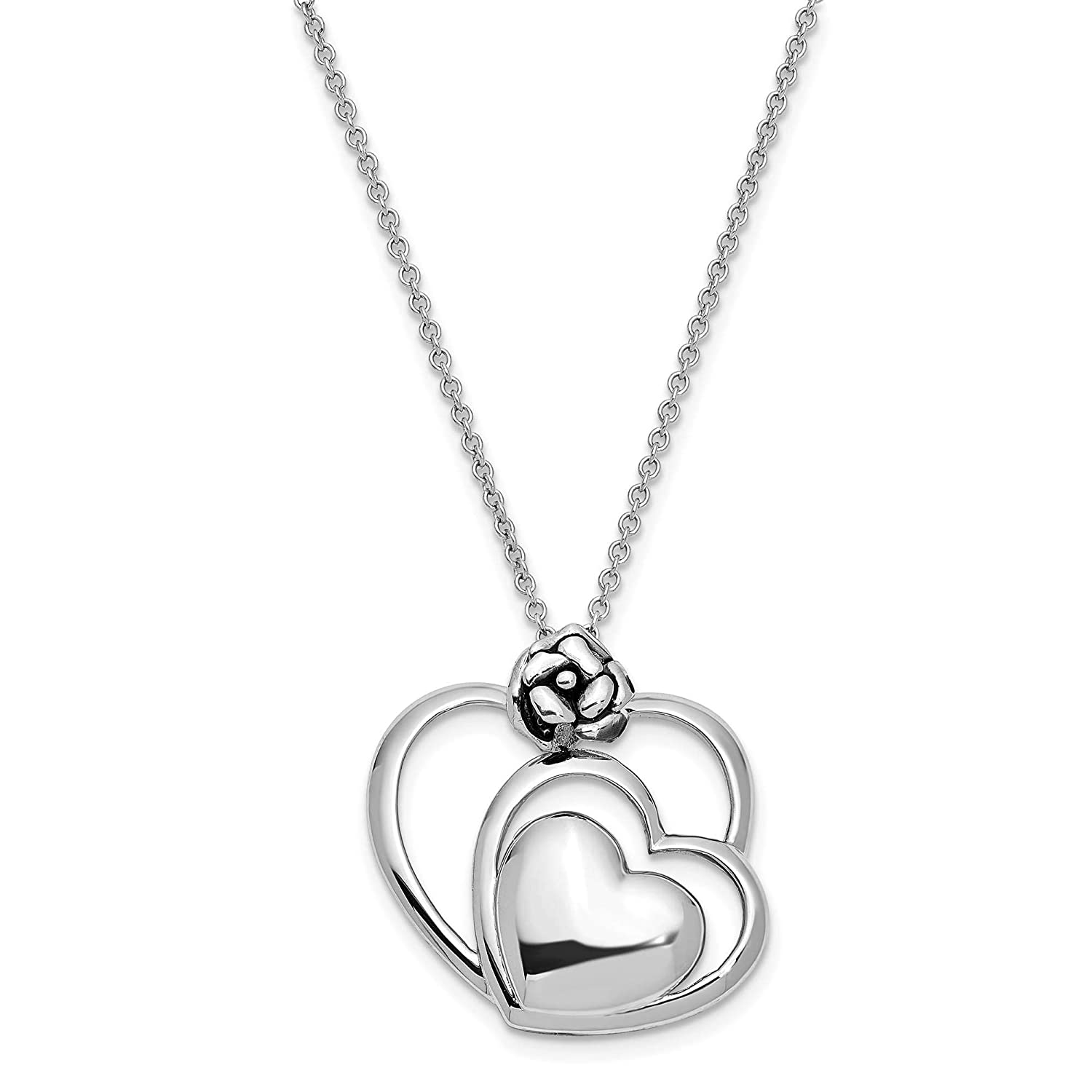 Sterling Silver Polished /& Antiqued Thank You My Grand Daughter Necklace 18 by Sentimental Expressions