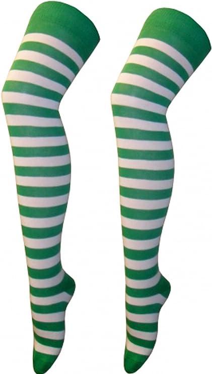 Donna a righe sopra il ginocchio Calze coscia alta calze ragazze elastico OTK Fancy Dress Nero /& grigio Women 4-6