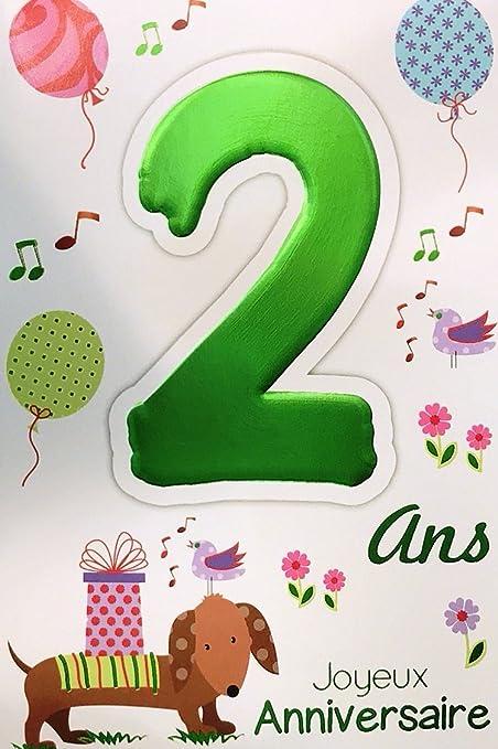 Age Mv 69 2002 Carte Joyeux Anniversaire 2 Ans Enfant Garcon Fille Motif Chien Cadeau Ballons Oiseaux Amazon Fr Fournitures De Bureau