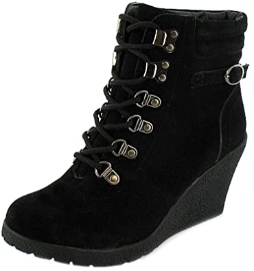 Ladies Womens Black 8cm Wedge Heeled Ankle Boots With D Ring Lace Up