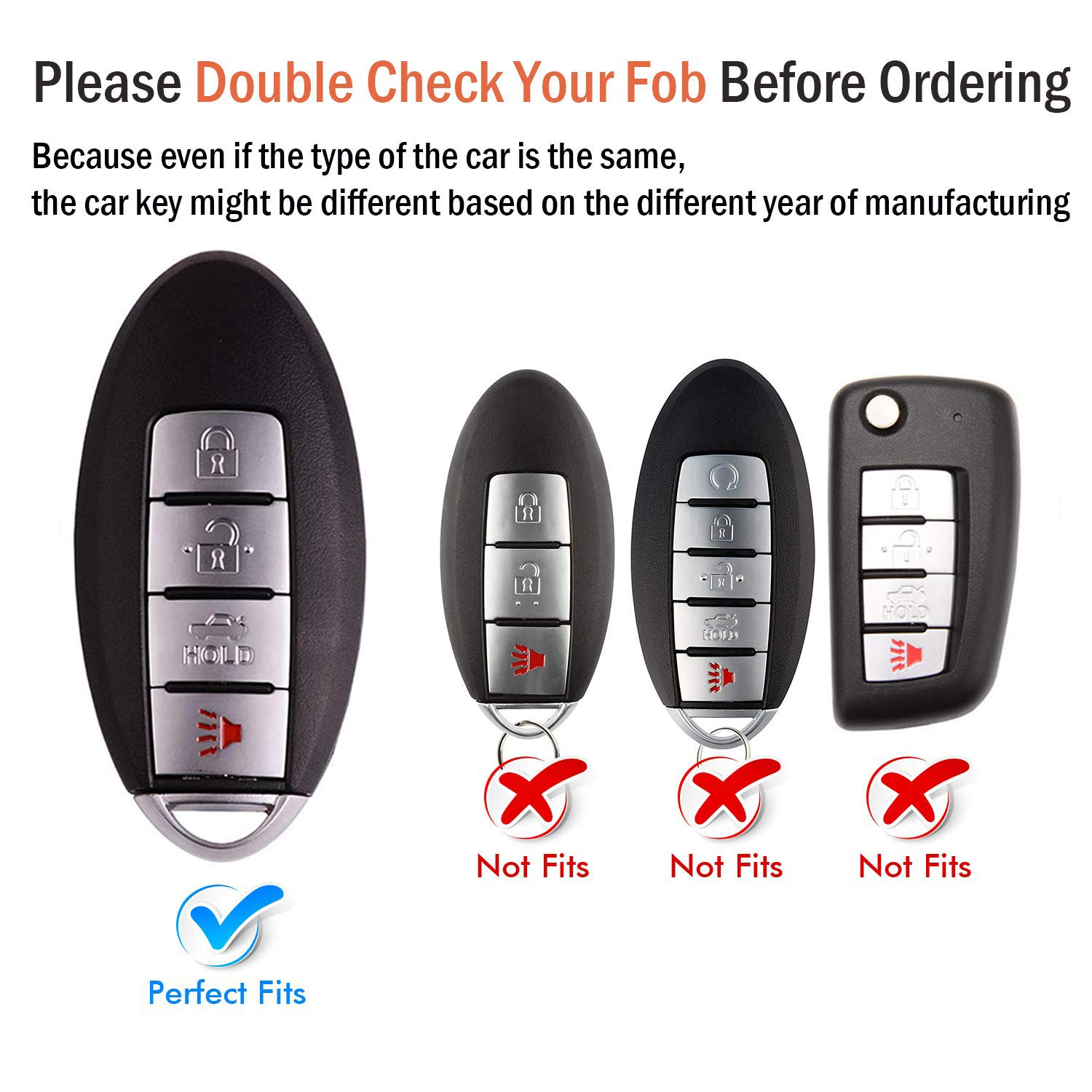 Keyless Entry Systems COMPONALL for Nissan Key Fob Cover for 4 ...
