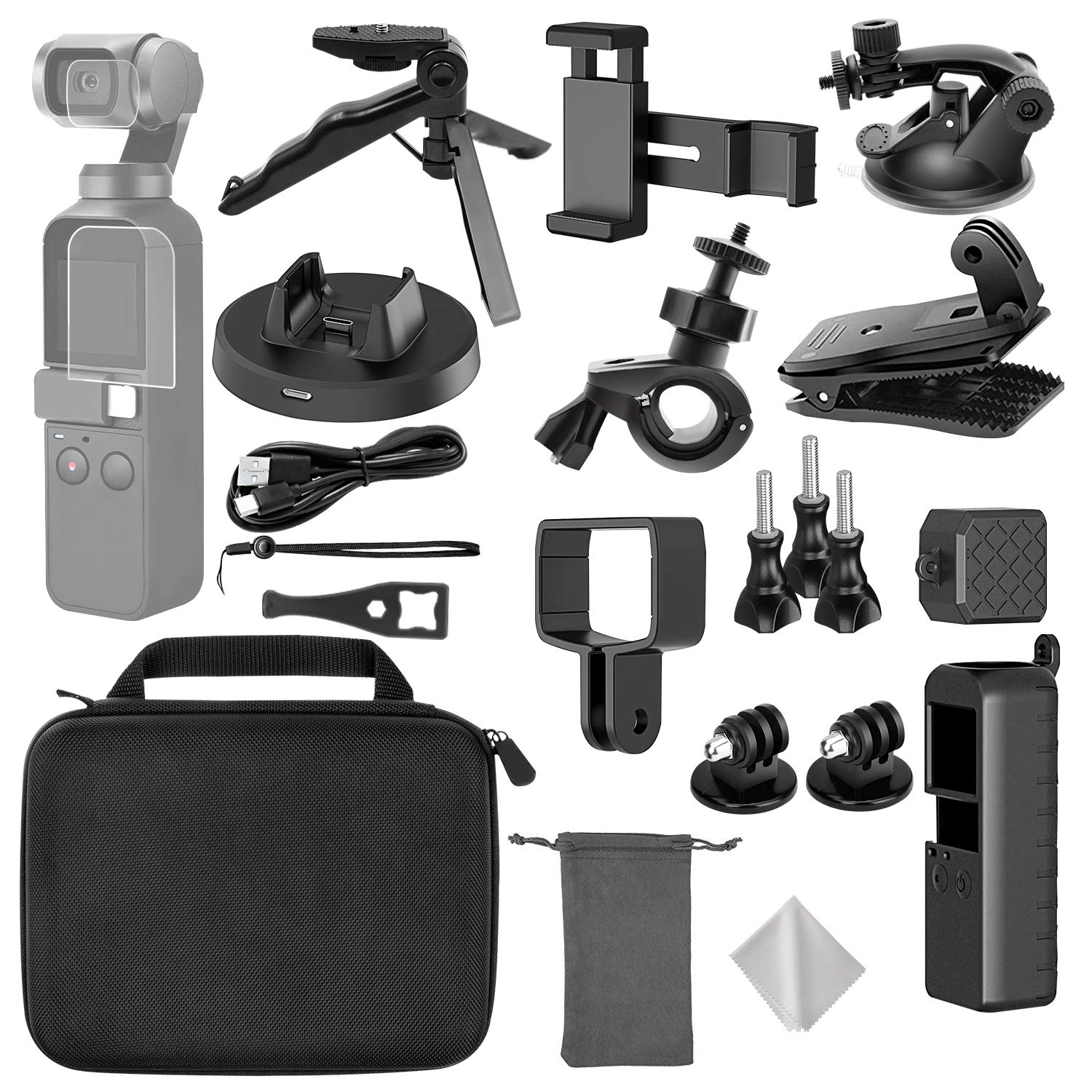 TONCHU 21-in-1 Expansion Kit for DJI OSMO Pocket Action Camera Mounts,Accessory Bundle kit for Carrying Case/Mobile Phone Holder/Charging Base/Tripod/Car Suction Cup Bracket/Strap Clip and More by TONCHU