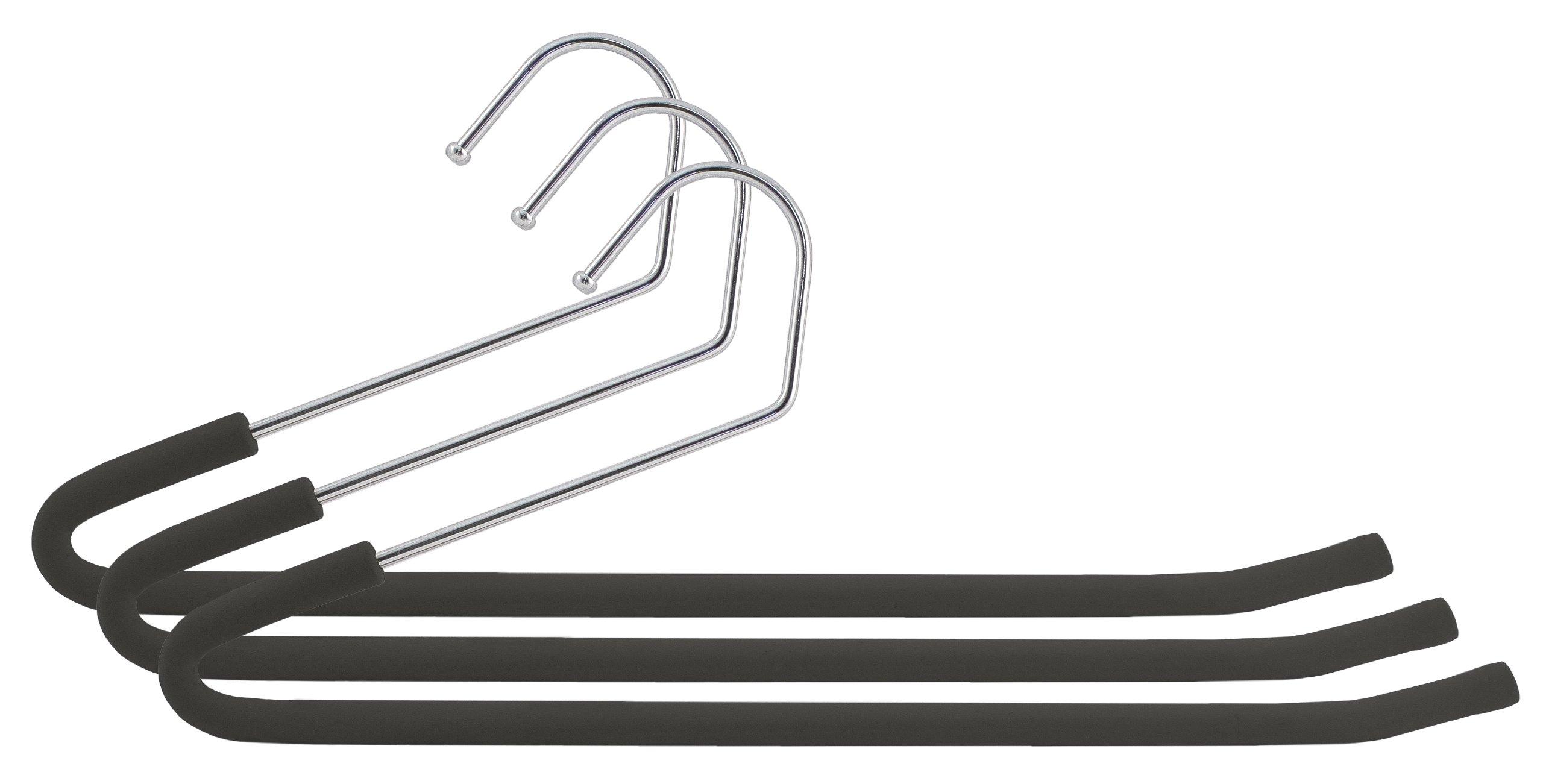 Closet Complete Foam-Coated Chrome Non-Slip Pants Hangers, Black, Set of 3 product image