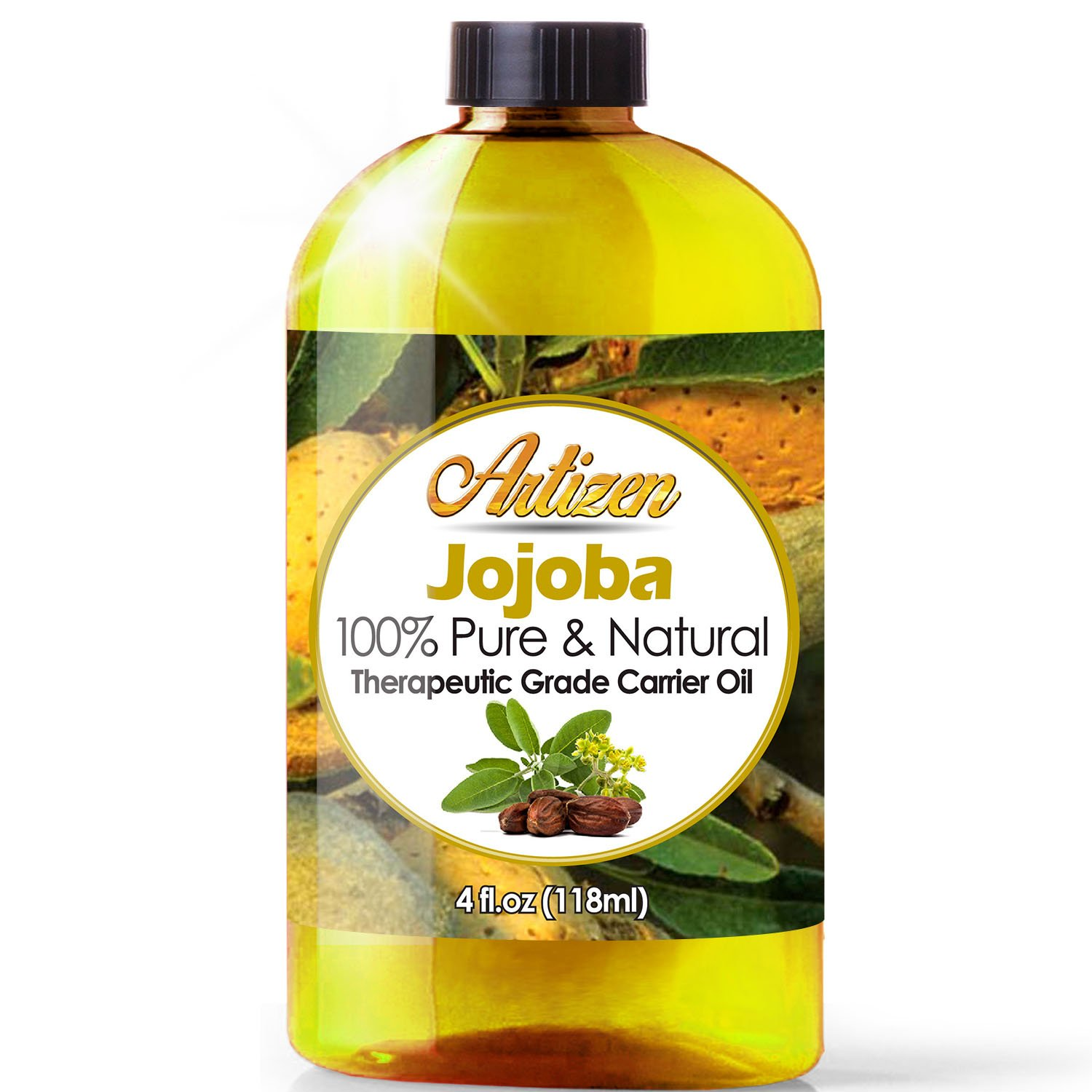 100% Pure Jojoba Oil (HUGE 4OZ BOTTLE) All-Natural Jojoba Oil – Cold Pressed - Perfect Moisturizer for Hair, Skin, Face, and Hair