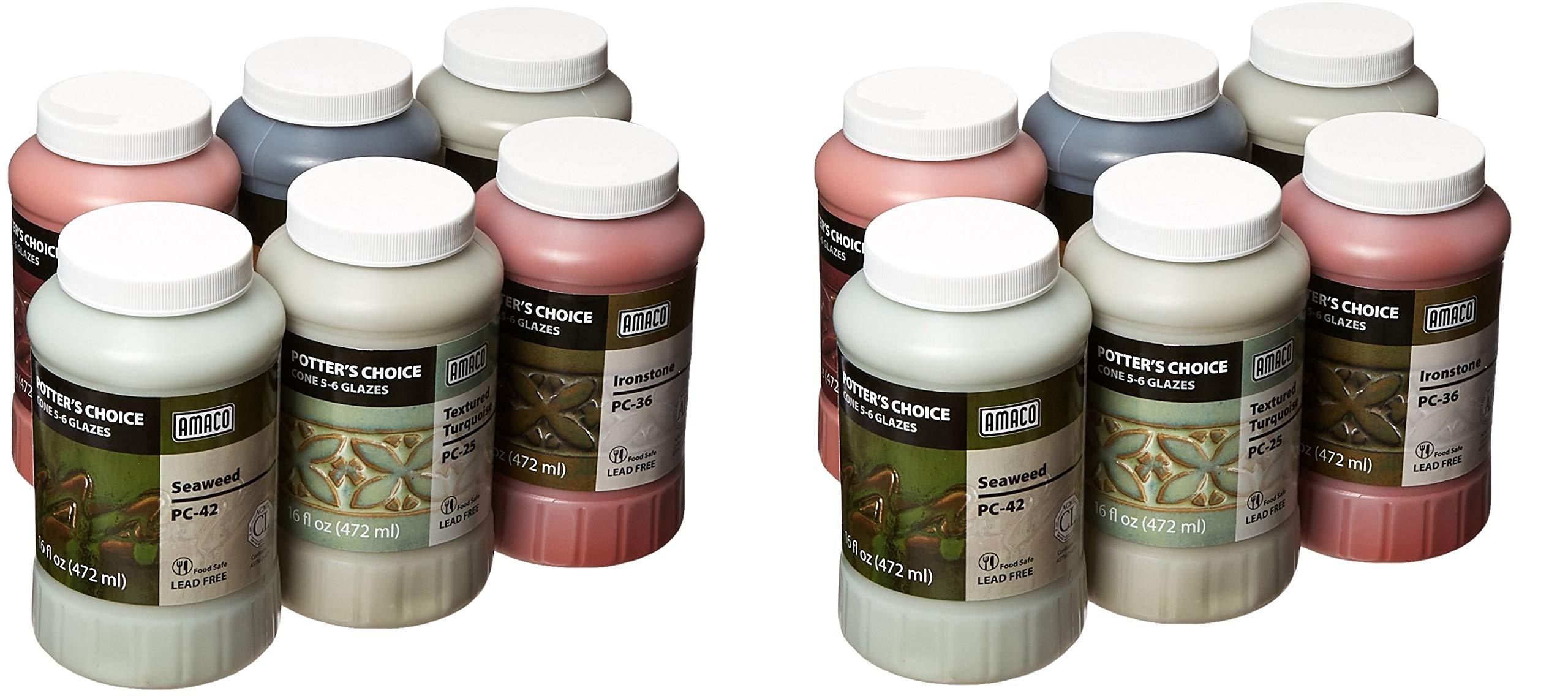 AMACO Potters Choice Lead-Free Glaze Set - B, 1 pt, Assorted Colors (2 X Pack of 6)