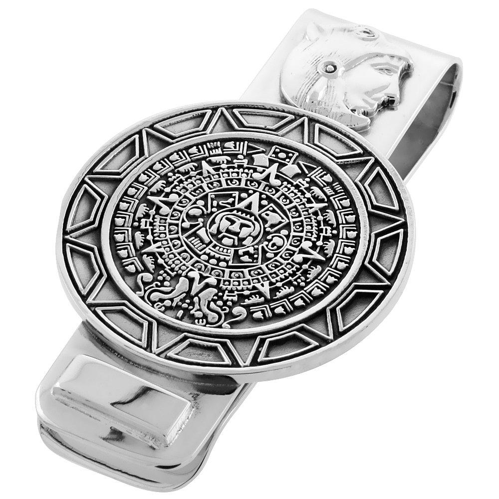 Sterling Silver Aztec Calendar Money Clip 2 1/4 inch