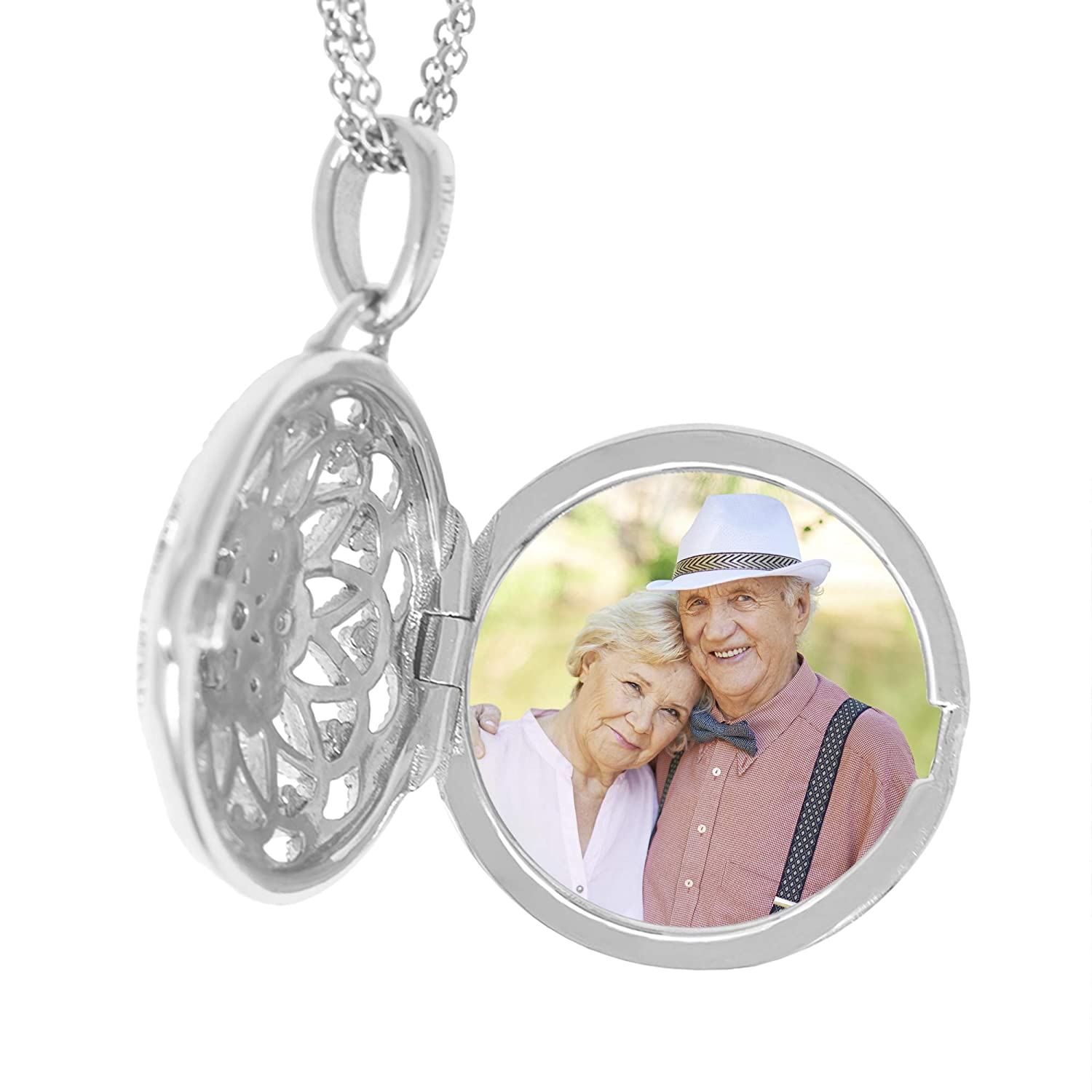 With You Lockets-Fine Sterling Silver-Custom Photo Locket Necklace-That Holds Pictures For Women-The Elaine