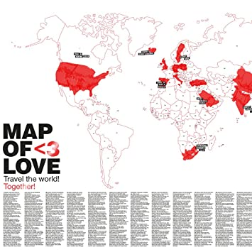 Map of love world map poster for couples with magnetic poetry map of love world map poster for couples with magnetic poetry sticker set gumiabroncs Gallery