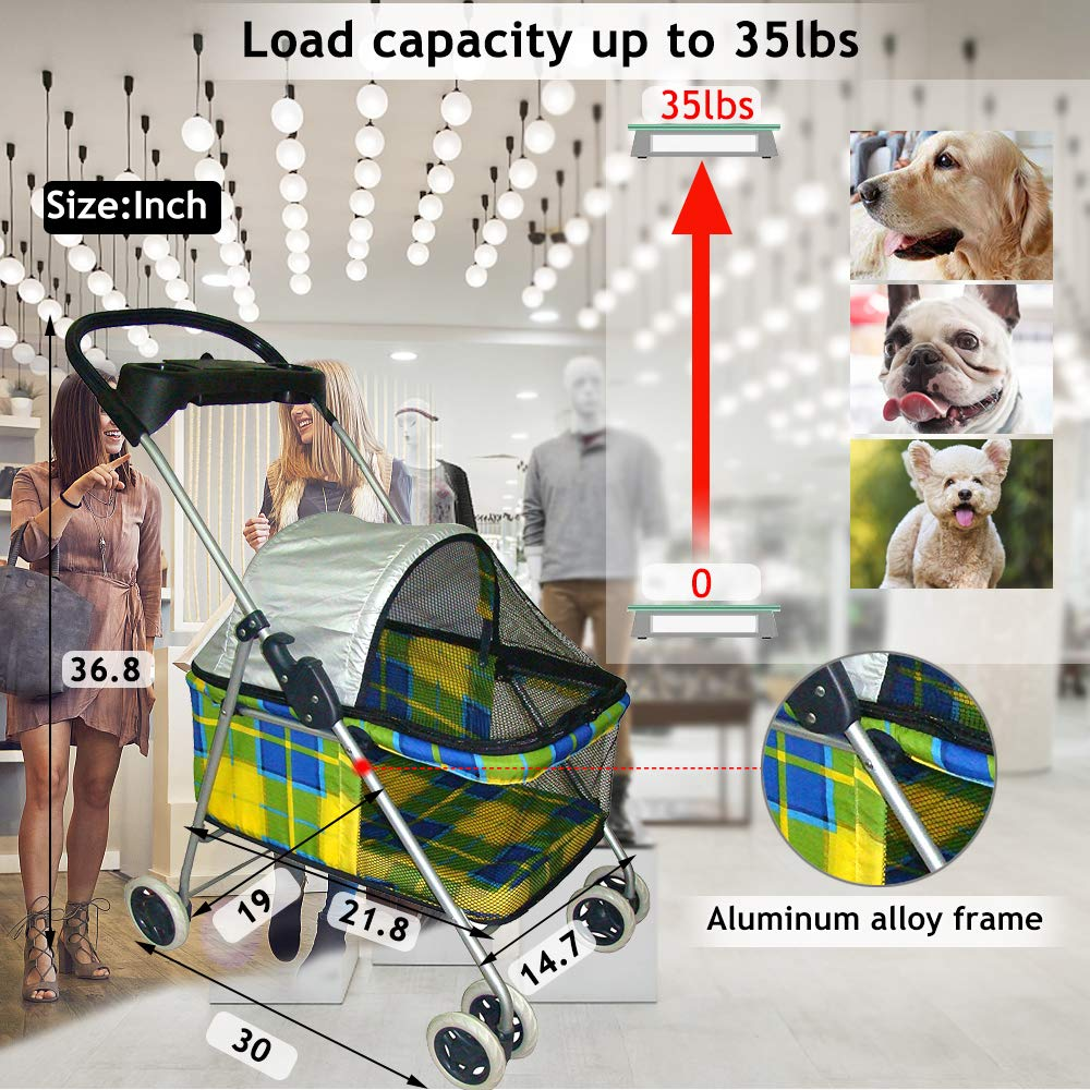 Cats Dog Stroller Pet Stroller Cat Strollers Jogger Folding Travel Carrier Durable 4 Wheels Doggie Cage with Cup Holders 35Lbs Capacity Waterproof Puppy Strolling Cart for Small-Medium Dogs